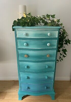 Tall Vintage  Painted Upcycled chest of drawers