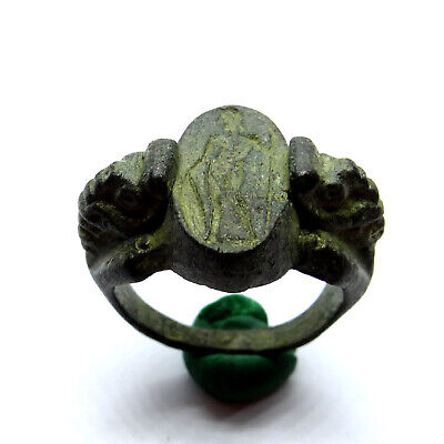 Greek Ancient Artifact Bronze Ring With God Apollo And Two Monsters