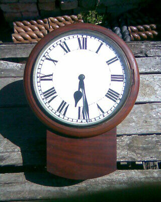 Antique Vintage Solid Mahogany Drop Dial Wall Clock Non-Runner Spares & Repairs