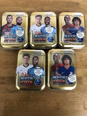 TOPPS MATCH ATTAX SEASON 2019/20 TRADING CARD 5x MINI TINs UEFA CHAMPIONS LEAGUE