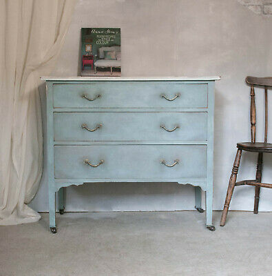 Blue Vintage shabby chic hand painted chest of drawers on original castors