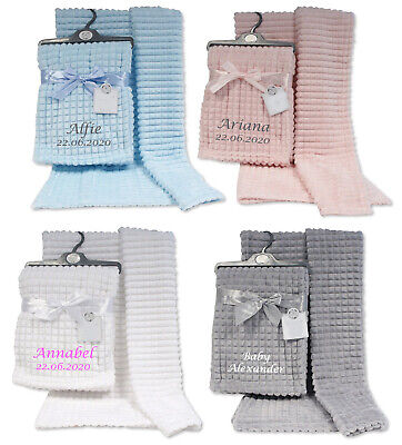 Personalised Baby Blanket Embroidered Super Soft Squares Blanket Newborn gift