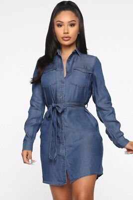 New Fashion Nova Good Karma Denim Shirt Dress With Wrap Around Belt 22 00 Picclick This content is imported from twitter. picclick