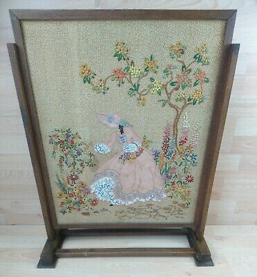 Vintage Wooden Framed Tapestry Needlepoint  Lady Picking Flowers Fire Screen.
