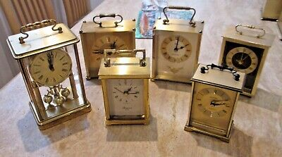 Six Carriage / Desk Clocks - Most Working - Spares or Repair