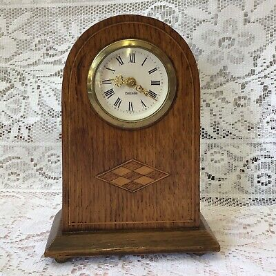 Mercedes Oak Wood Inlaid Mantel Clock, Wind Up Brass Movement, Made West Germany
