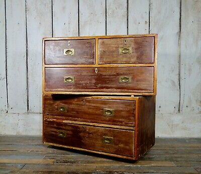 An Antique 19th Century Military Chest Of Drawers Campaign Brass Mahogany