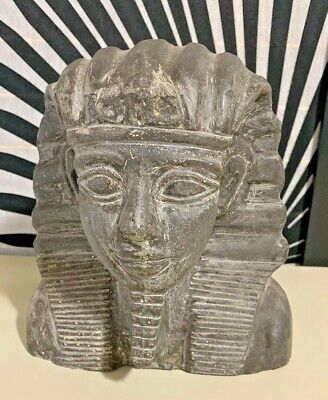 ANTIQUE ANCIENT EGYPTIAN Statue King Ramses Head Heavy Granite