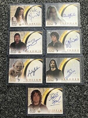 7 Lord Of The Rings Autograph Cards Lotr Auto Topps Signed Blanchett Bean Lee