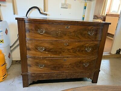 Antique Large Victorian Flame Mahogany Chest Of Drawers With Brass Escutcheons