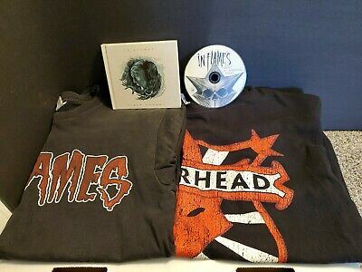 Lot (2) In Flames CD Siren/Playground & (2) T-Shirts JESTERHEAD Tour Merch Items