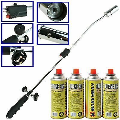 Weed Wand Blowtorch Burner Killer Garden Torch Blaster + 4 Butane Gas Weeds