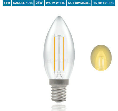 Screw PACK OF 5 2W LED Clear Candle Bulb Non Dimming SES E14 120lms