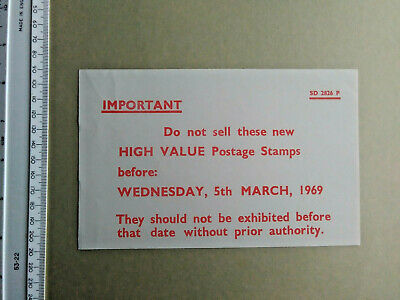 Embargo Notice:  1969 High Value £sd Machin stamps