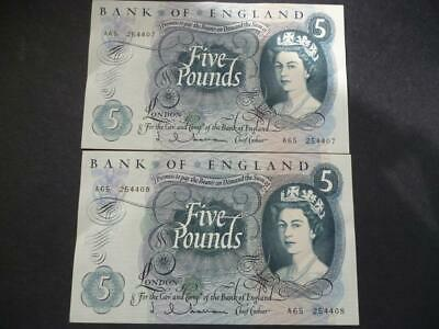 Pair 1963 J Q Hollom 1963 Five Pounds Extremely Fine Consecutive  Duggleby B297.