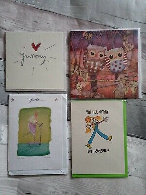 Greetings Cards X 4, Mixed Selection, Owl, Friendship, New
