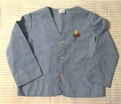 Vintage Blue Check Jacket Top Size 4T Long Sleeve Balloon Applique Philippines