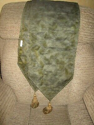 2mtr Organza Table Runner with tassles & beads - Olive Green