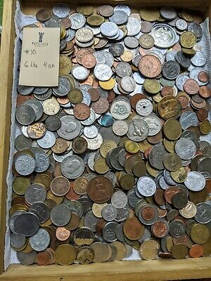 6 POUNDS 4oz of ASSORTED WORLD FOREIGN COINS.. BULK Lot With good Variety #10