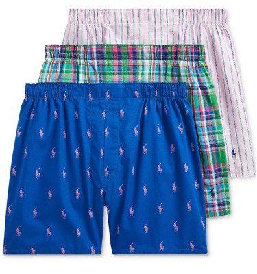 Polo Ralph Lauren Woven Boxers 3 Pack Blue Pony all Over Plaid Pink Mens New NWT