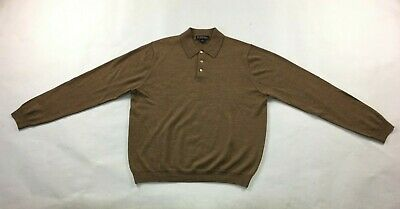 Men's Brooks Brothers Collared Pullover Sweater Sz L Large Merino Wool Brown 669