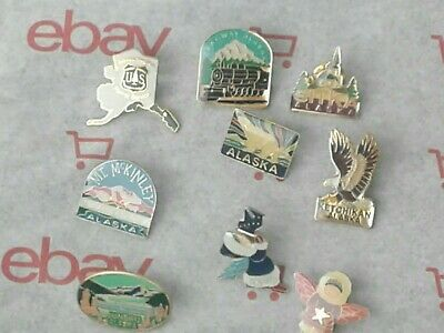 9 Vintage Various  Alaska Enamel Souvenir Pins Hat Lapel Travel Vacation