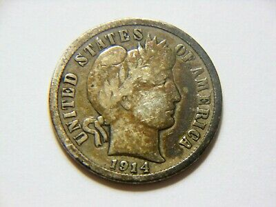 Nice Vintage Coin for any collection *WOW* 1914-P VF//VF Silver Barber Dime