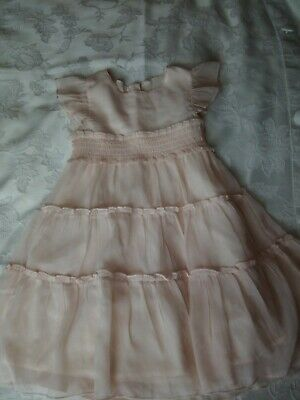 Girls Marks /& Spencer Pale Pink Tiered Ruched Dress  Age 2-3 6-7 3-4