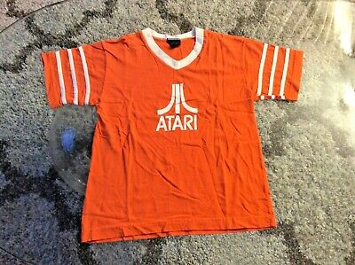 Atari Orange Ringer Shirt Youth Kids Large Vintage 2000