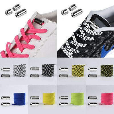 No Tie Elastic Flat Shoelaces with Silver Buckle Kids Adults Sneakers Shoe Laces