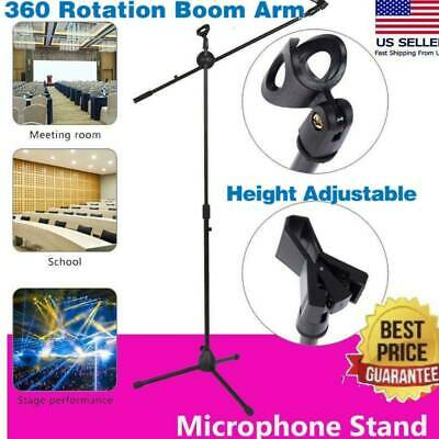 360-degree Rotating Microphone Stand Dual Mic Clip Boom Arm Foldable Tripod HOT