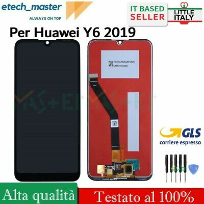Lcd Display Per Huawei Y6 2019 Mrd-Lx1 Lx2 Touch Schermo Vetro Screen Nero Gls