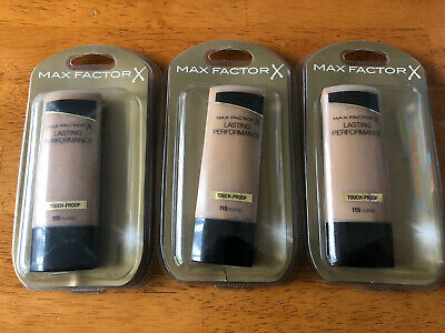 3 X MAX FACTOR LASTING PERFORMANCE TOUCH-PROOF FOUNDATION - TOFFEE (115) 35ml