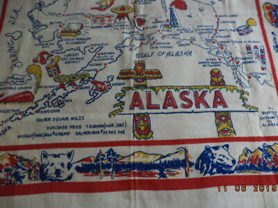 Vintage Souvenir Alaska Tablecloth Wall Hanging