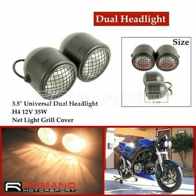 12V Twin Headlight W/Metal Mesh Grill Motorcycle Double Dual Lamp Street Fighter