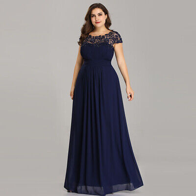 Ever-Pretty US Formal Long Plus Size Evening Dress Navy Blue Backless Gown 09993