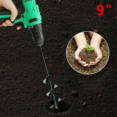 Auger Drill Bit Garden 3x7 /& 3x12 Solid Barrel Dual-Blades Plant Flower Bulb Auger Spiral Hole Drill Rapid Planter Earth Post Umbrella Hole Digger for Most 3//8 Hex Drive Drill for Any Kind Soil