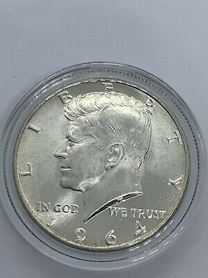 1964 Kennedy Half Dollar 90 %  Silver Us Coin With Air Tite Capsule