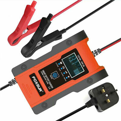 12V 6A Auto Smart Lead-Acid AGM Battery Charger Maintainer For Car Motorcycle