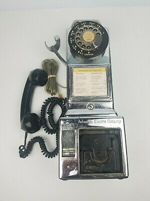 Vintage Automatic Electric Company 3 Slot Coin Rotary Payphone LPB-89-55 Chrome
