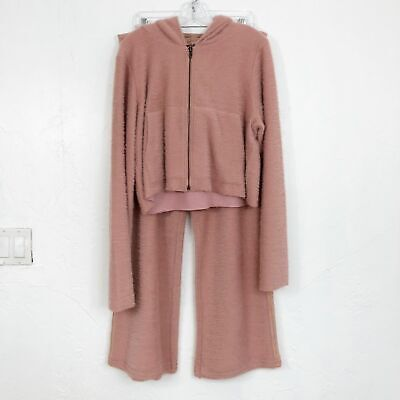 Free People NEW Queenie Set in Pink Fuzzy Jacket & Pants - Size Small