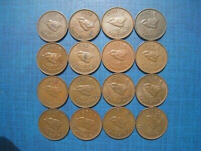 Complete Set of George VI Farthings 1937 - 1952. 16 Coins.