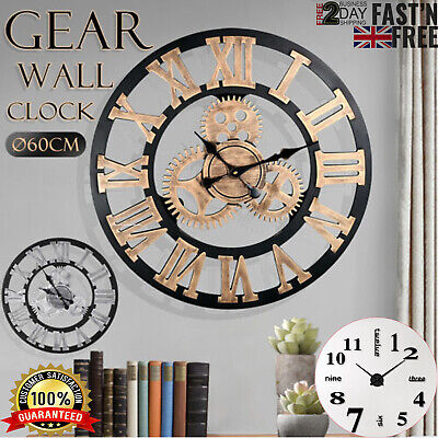 60Cm Extra Large Roman Numerals Skeleton Wall Clock Big Giant Open Face Round P8