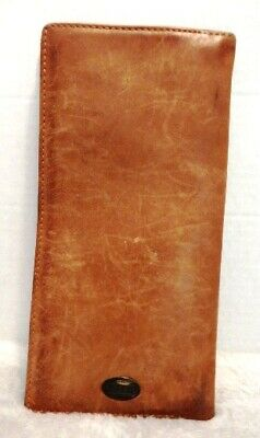 Fossil Tan Leather Passport Travel Wallet Document Organizer Billfold 12 slots