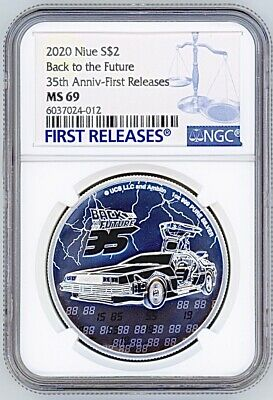 2020 NIUE 2$ SILVER COIN NGC MS69 FIRST RELEASE BACK TO THE FUTURE 35th ANNIV
