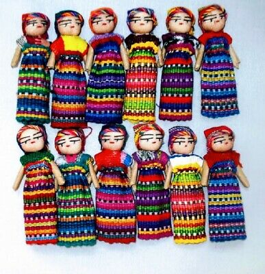 12  3 inch Hand Made Guatemalan Worry Doll Women  Trouble Dolls  Mexico