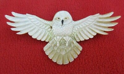 Magnificent Large Carved Mother Of Pearl Snowy Owl Shamanic Power Pendant