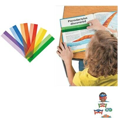 12 x Plastic Highlight Reading Strips Classroom Resource Includes FREE  Mask