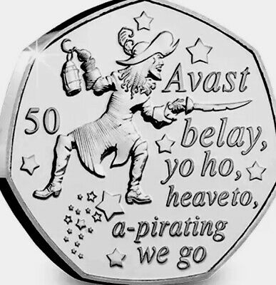 Isle Of Man Coin 50p Commemorative 2019 Peter Pan Hook New UNC From Bag