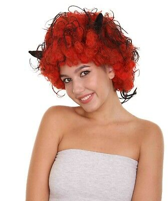 Devil Wig with Horns | Jumbo Super Size Afro Almost Red Halloween Wig HW-1755A